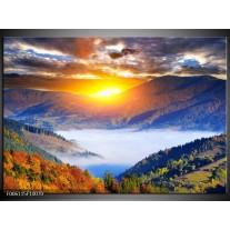 Foto canvas schilderij Zonsondergang | Oranje, Blauw, Bruin