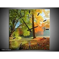 Wandklok op Canvas Herfst | Kleur: Oranje, Bruin, Groen | F006117C