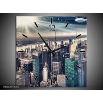 Wandklok op Canvas Wolkenkrabber | Kleur: Grijs, Groen | F006120C