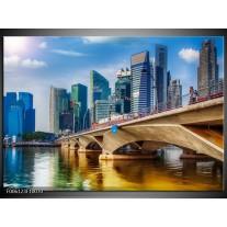Foto canvas schilderij Singapore | Blauw, Groen, Bruin