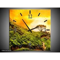 Wandklok op Canvas Natuur | Kleur: Groen, Oranje, Geel | F006126C