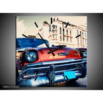Wandklok op Canvas Oldtimer   Kleur: Rood, Wit, Blauw   F006127C