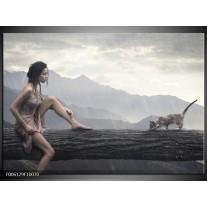 Foto canvas schilderij Vrouw | Grijs