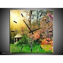 Wandklok op Canvas Natuur | Kleur: Groen, Paars | F006131C