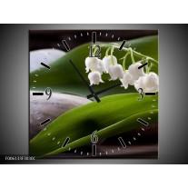 Wandklok op Canvas Bloemen   Kleur: Groen, Wit, Grijs   F006133C