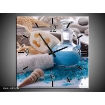 Wandklok op Canvas Spa | Kleur: Blauw, Wit | F006134C