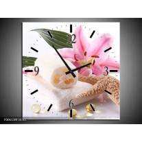 Wandklok op Canvas Spa | Kleur: Roze, Wit | F006138C