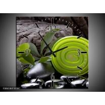 Wandklok op Canvas Spa | Kleur: Groen, Zwart | F006146C