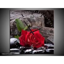 Wandklok op Canvas Roos | Kleur: Rood, Zwart | F006147C