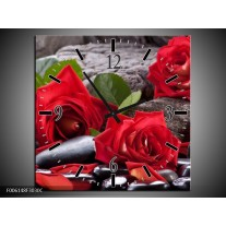 Wandklok op Canvas Roos   Kleur: Rood, Zwart, Groen   F006148C