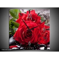 Wandklok op Canvas Roos | Kleur: Rood, Zwart, Groen | F006149C