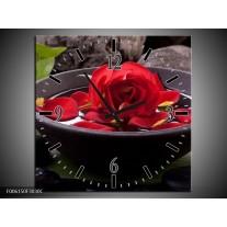 Wandklok op Canvas Roos   Kleur: Rood, Zwart, Groen   F006150C