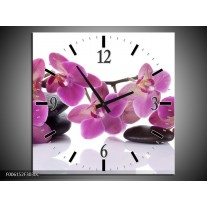 Wandklok op Canvas Orchidee | Kleur: Paars, Wit | F006152C