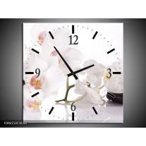 Wandklok op Canvas Orchidee | Kleur: Wit, Zwart | F006154C