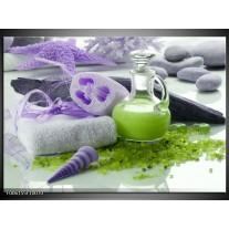 Glas schilderij Spa | Paars, Groen, Grijs