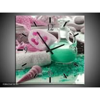 Wandklok op Canvas Spa | Kleur: Groen, Roze | F006156C