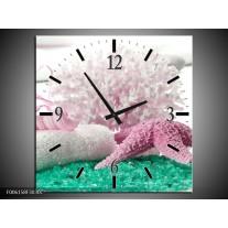 Wandklok op Canvas Spa | Kleur: Roze, Groen | F006158C