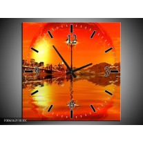 Wandklok op Canvas Steden   Kleur: Oranje, Rood, Geel   F006162C