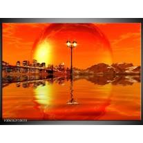Glas schilderij Steden | Oranje, Rood, Geel