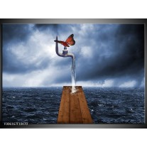 Foto canvas schilderij Modern | Grijs, Rood, Blauw