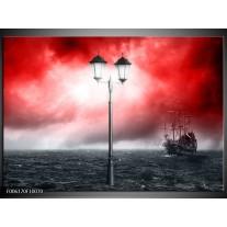 Foto canvas schilderij Zee | Rood, Grijs, Zwart