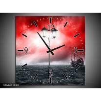 Wandklok op Canvas Zee   Kleur: Rood, Grijs, Zwart   F006170C