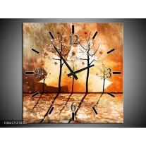 Wandklok op Canvas Abstract | Kleur: Bruin, Oranje, Geel | F006175C