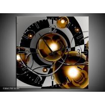 Wandklok op Canvas Modern | Kleur: Goud, Zwart, Grijs | F006178C