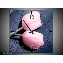 Wandklok op Canvas Tulpen | Kleur: Roze, Grijs | F006181C