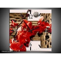 Wandklok op Canvas Orchidee   Kleur: Rood, Bruin, Creme   F006185C