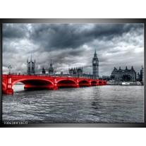 Glas schilderij Brug | Rood, Grijs