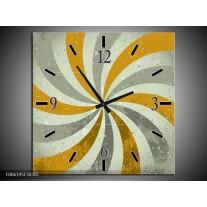 Wandklok op Canvas Abstract | Kleur: Grijs, Bruin | F006195C