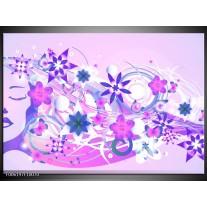 Glas schilderij Abstract | Roze, Paars, Wit