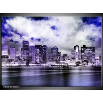 Foto canvas schilderij Wolkenkrabber | Paars, Grijs, Blauw