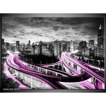 Foto canvas schilderij Wolkenkrabber | Paars, Grijs