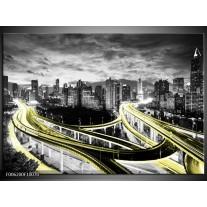 Foto canvas schilderij Wolkenkrabber | Geel, Goud, Grijs