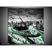 Wandklok op Canvas Wolkenkrabber | Kleur: Groen, Grijs | F006201C