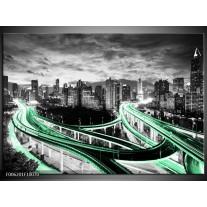 Glas schilderij Wolkenkrabber | Groen, Grijs