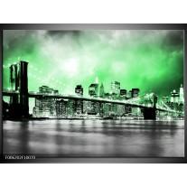 Foto canvas schilderij Brug | Grijs, Groen