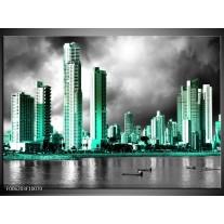 Foto canvas schilderij Wolkenkrabber | Grijs, Groen