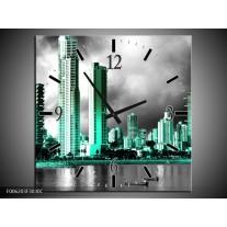 Wandklok op Canvas Wolkenkrabber | Kleur: Grijs, Groen | F006203C