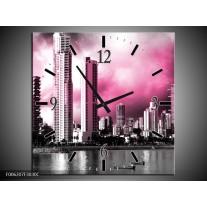 Wandklok op Canvas Wolkenkrabber   Kleur: Roze, Grijs   F006207C