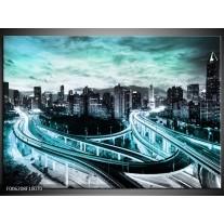 Foto canvas schilderij Wolkenkrabber | Blauw, Groen, Grijs