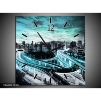 Wandklok op Canvas Wolkenkrabber | Kleur: Blauw, Groen, Grijs | F006208C