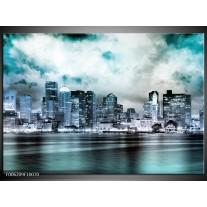 Foto canvas schilderij Wolkenkrabber | Groen, Blauw