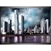 Foto canvas schilderij Wolkenkrabber | Blauw, Paars, Grijs