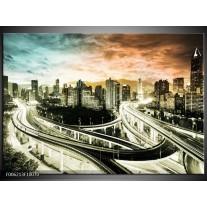Foto canvas schilderij Wolkenkrabber | Grijs, Blauw, Bruin