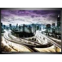 Foto canvas schilderij Wolkenkrabber | Paars, Blauw, Geel