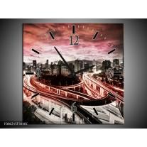 Wandklok op Canvas Wolkenkrabber   Kleur: Rood, Roze, Grijs   F006215C