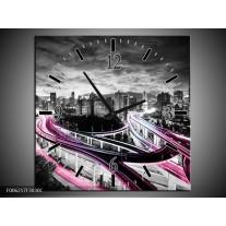 Wandklok op Canvas Wolkenkrabber | Kleur: Paars, Roze, Grijs | F006217C